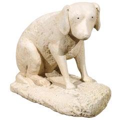 20th Century Primitive Carved Stone Dog