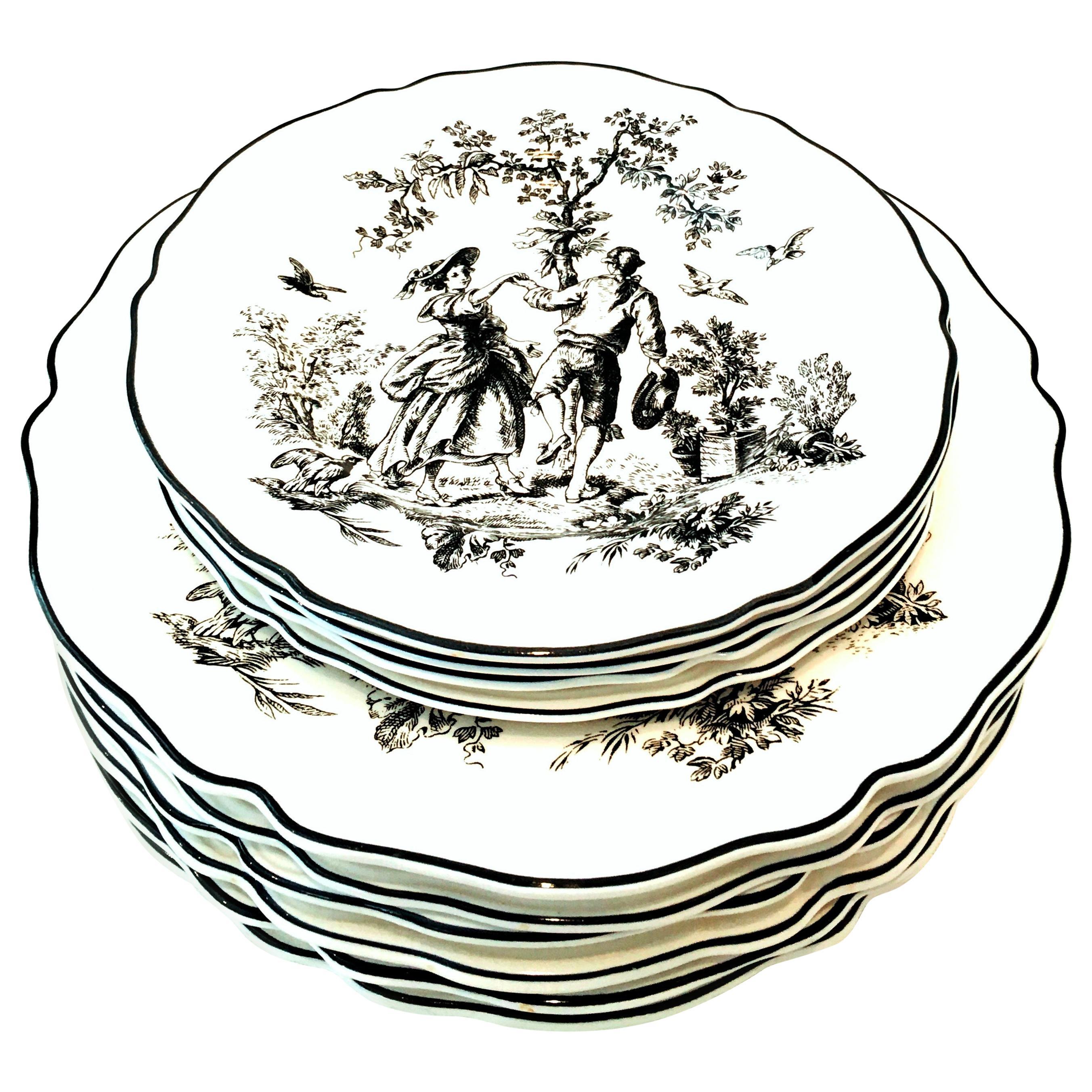 """20th Century Printed Ceramic """"Toile"""" Dinnerware Set of 10 Pieces"""