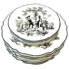 "20th Century Printed Ceramic ""Toile"" Dinnerware Set of 10 Pieces"