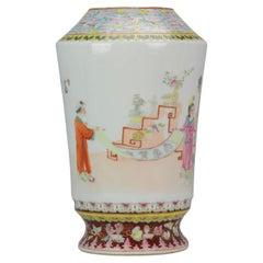 20th Century PRoC 1970-1980 Chinese Porcelain Vase Figures Famille Rose Garden