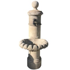 20th Century Provencal Garden Fountain in Hand-Carved Limestone