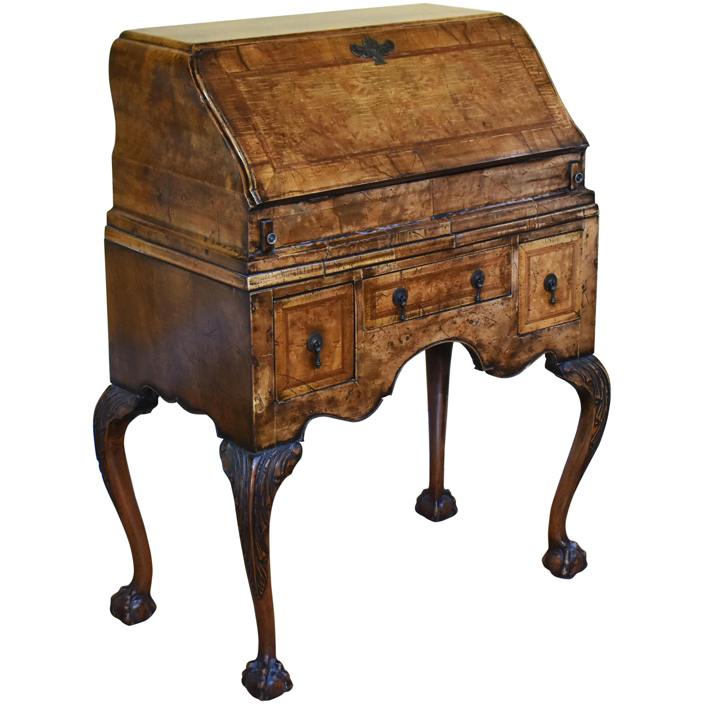 Queen Anne Desk >> Antique English Walnut Queen Anne Table Desk Circa 1900 1910