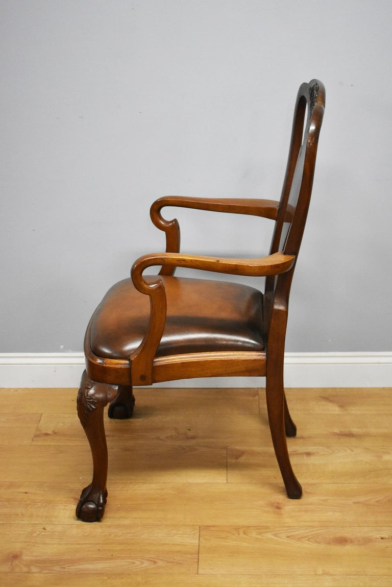 20th Century Queen Anne Revival Solid Mahogany Armchair For Sale 5