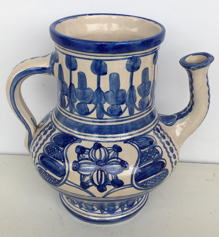 20th Century Rare Glazed Earthenware Spanish Blue and White Pitcher In Good Condition For Sale In Miami, FL