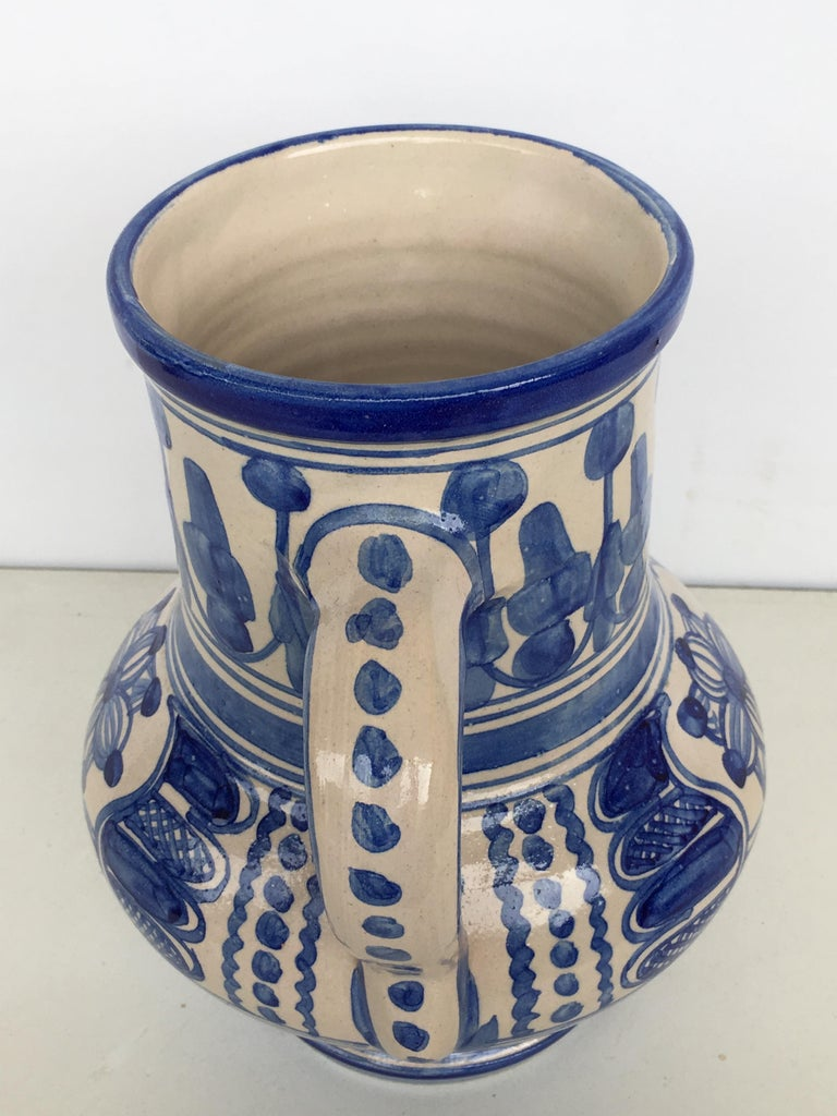 20th Century Rare Glazed Earthenware Spanish Blue and White Pitcher For Sale 1