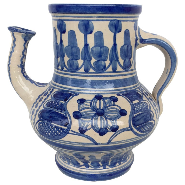 20th Century Rare Glazed Earthenware Spanish Blue and White Pitcher For Sale