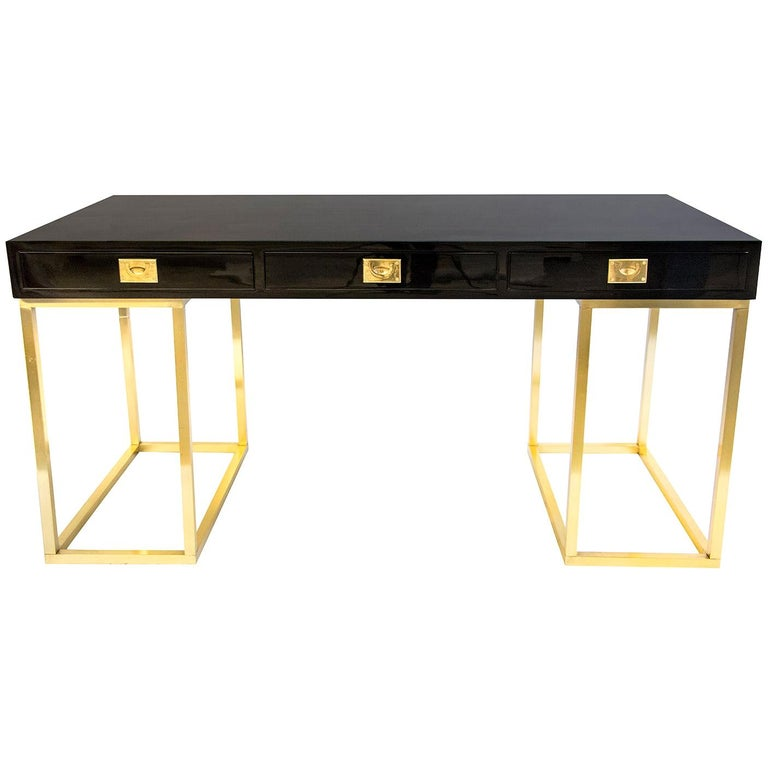 20th Century Rare Guy Lefevre Lacquer Desk for Maison Jansen For Sale