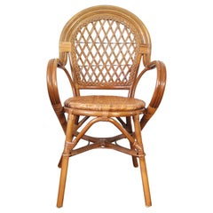 20th Century Rattan and Bamboo Armchair