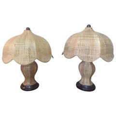 20th Century Rattan Table Lamp, Pair