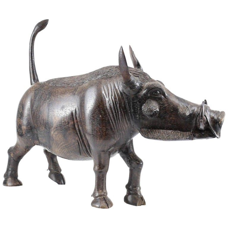 20th Century Realistic Heavily Detailed Iron Wood Carved Warthog For Sale