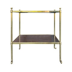 20th Century Rectangular Wood & Brass Two-Tier Side Table