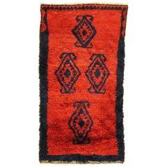 20th Century Red and Black Wool Turkish Tribal Tulu Rug, 1960s