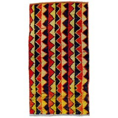 20th Century Red Black and Yellow Wool Geometric Turkish Tribal Tulu Rug