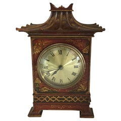20th Century Red Chinoiserie Pagoda Clock