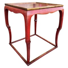 20th Century Red Chinoiserie Style Painted Side Table