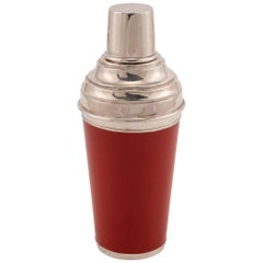 20th Century Red Enameled on Silver Plate Cocktail Shaker, Asprey, circa 1980