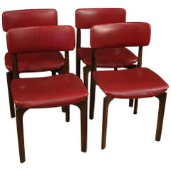20th Century Red Faux Leather and Beech Wood Italian Design 4 Chairs, 1970