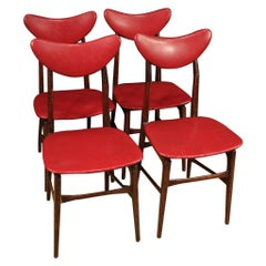 20th Century Red Faux Leather and Fruitwood Italian Design Chairs, 1970