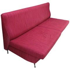 20th Century Red Italian Design Fabric Marco Zanuso Style Sofa, 1950