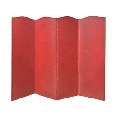 20th Century Red Painted Four-Panel Screen
