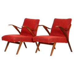 20th Century, Red Pair of Beech Armchairs, Original condition, Czechia, 1960s