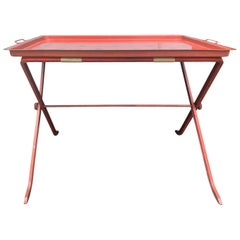 20th Century Red Tole Tray on Stand with Star Detail