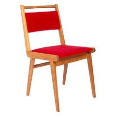 20th Century Red Velvet Chair, Poland, 1960s