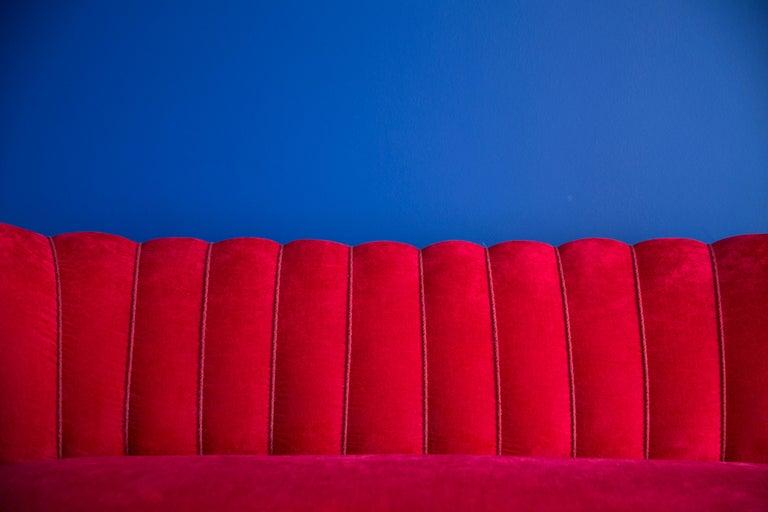 Mid-Century Modern 20th Century Red Velvet German Sofa, 1960s For Sale