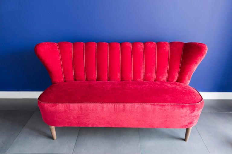 Czech 20th Century Red Velvet German Sofa, 1960s For Sale