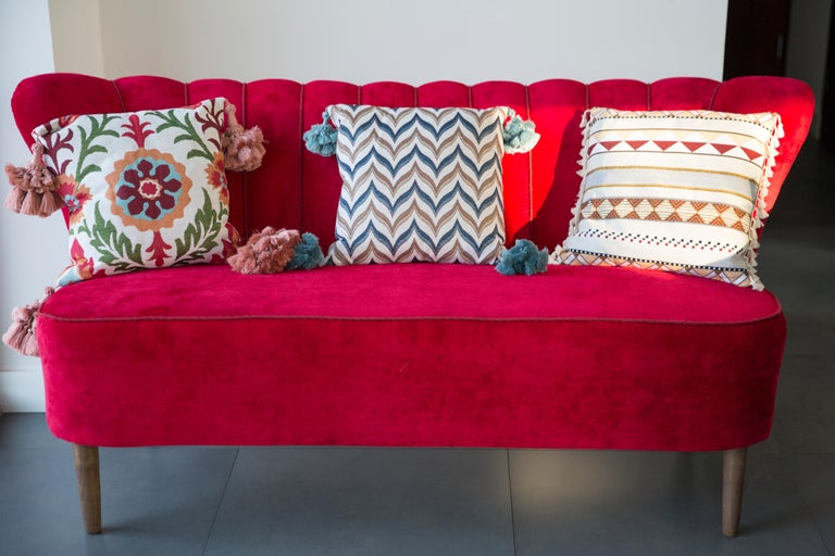 Hand-Crafted 20th Century Red Velvet German Sofa, 1960s For Sale