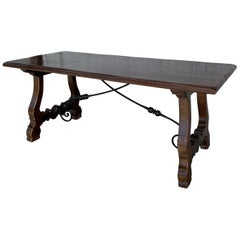 20th Century Refectory Spanish Table with Lyre Legs and Iron Stretch