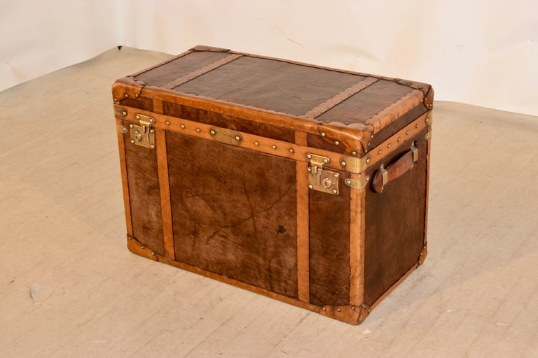 20th Century Refurbished Leather Steamer Trunk In Good Condition For Sale In High Point, NC