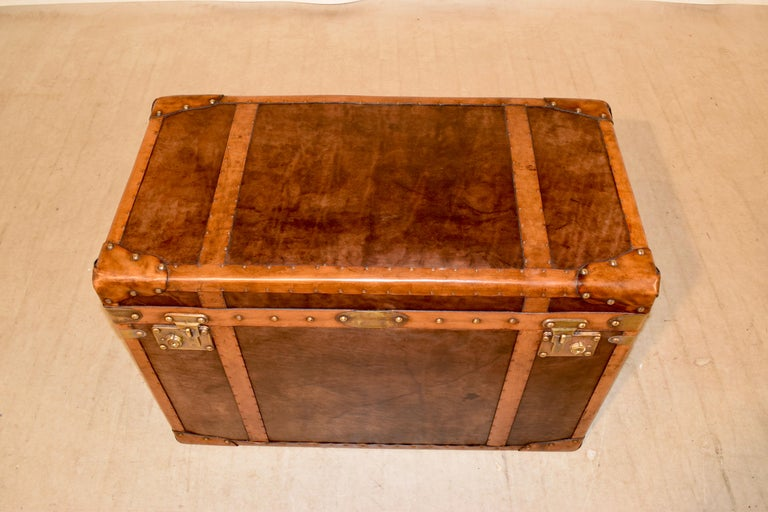 20th Century Refurbished Leather Steamer Trunk For Sale 1