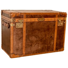 20th Century Refurbished Leather Steamer Trunk
