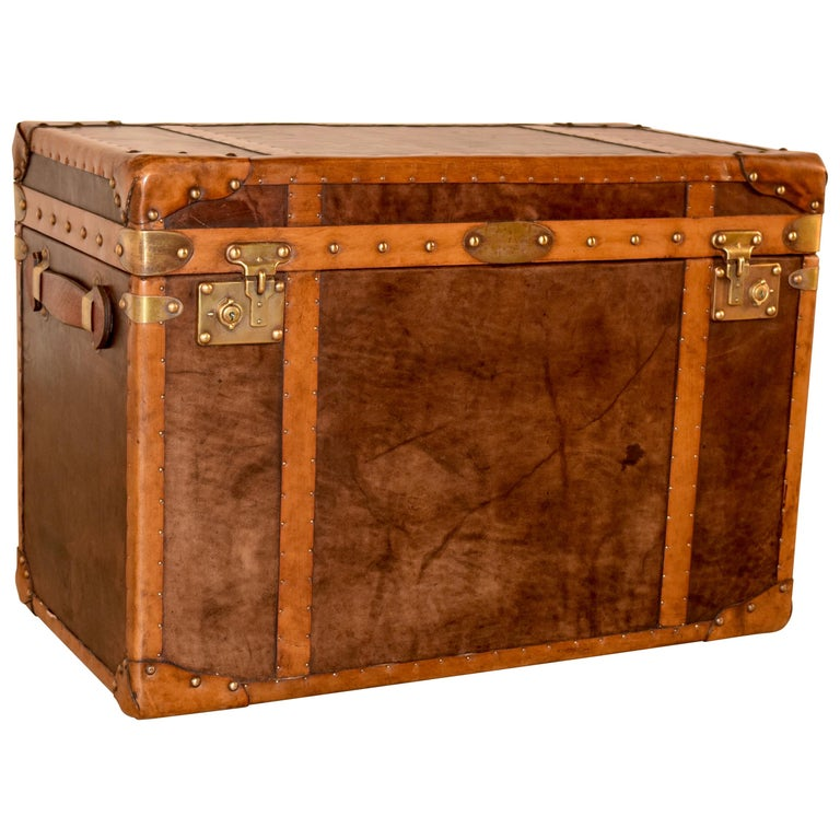 20th Century Refurbished Leather Steamer Trunk For Sale