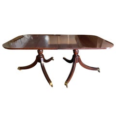 20th Century Regency Style Double Pedestal Dining Table
