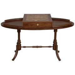 20th Century Regency Style Oval Walnut Chess Game Table with Two Drawers