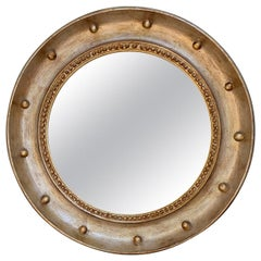 20th Century Regency Style Round Mirror with Silver/Gold Gilt Finish