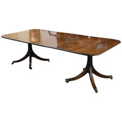 20th Century Regency Style Solid Mahogany Pedestal Dining Table