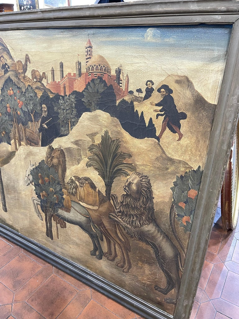Italian 20th Century Renaissance Painting Oil on Canvas Sano di Pietro, 1900s For Sale