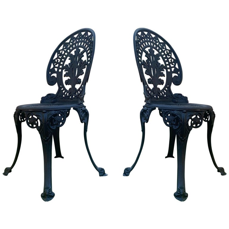 20th Century Renaissance Revival Style Pair of Back Garden Chairs