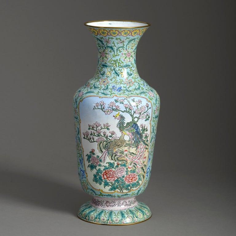 Chinese Export 20th Century Republic Period Canton Enamel Vase For Sale