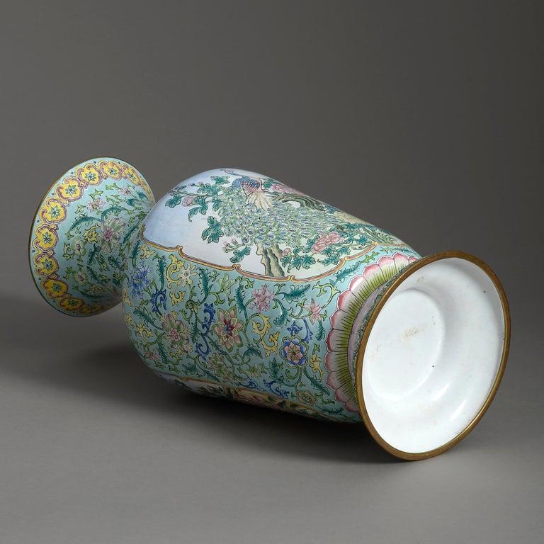 Chinese 20th Century Republic Period Canton Enamel Vase For Sale