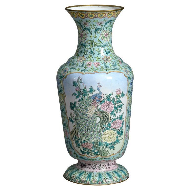 20th Century Republic Period Canton Enamel Vase For Sale