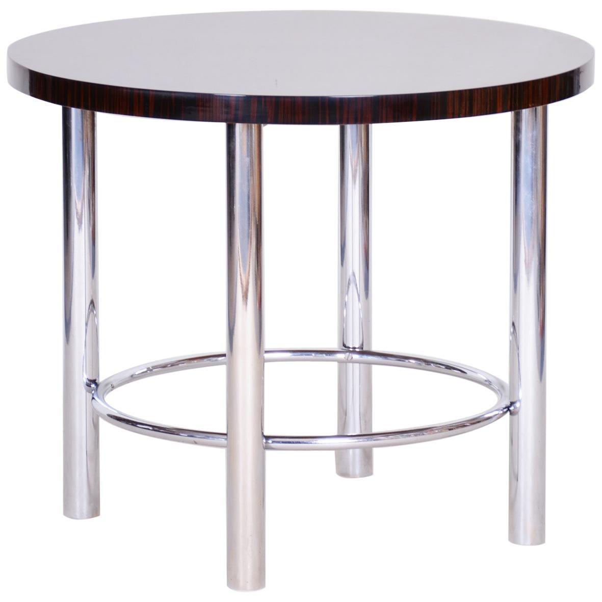 20th Century Restored Chrome Round Macassar Bauhaus Table, Mücke-Melder, 1930s
