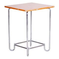 20th Century Restored Chrome Small Plywood Bauhaus Table, Hynek Gottwald, 1930s