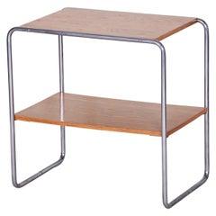 20th Century Restored Czech Bauhaus Chrome Small Table, Oakwood, 1930s