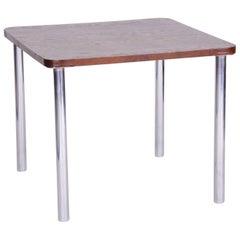 20th Century Restored Czech Oak Bauhaus Table by Robert Slezák, Chrome, 1930s