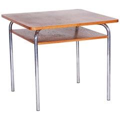 20th Century Restored Czech Oak Bauhaus Table by Vichr a Spol, Chrome, 1940s