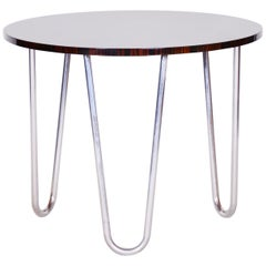 20th Century Restored Rounded Macassar Bauhaus Table, Chrome-Plated Steel, 1930s